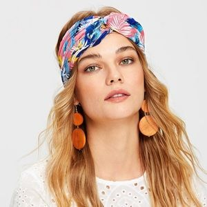 Plant print turban headband